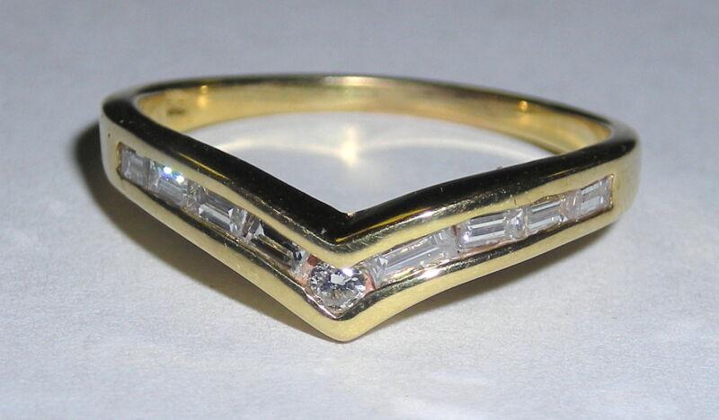 Classic Ladies Chevron Diamond Band W/Round & Baguette Diamonds  50 Points