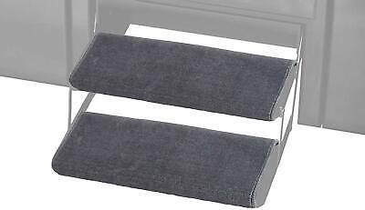 2 Pcs RV Step Covers Wrap Around Camper RV Step Rug Step Carpet Gray 23In Width