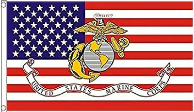 3x5FT Marine Corps American Flag USMC Banner US USA Military Veteran Décor