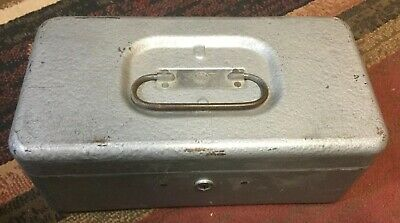 Vintage School Ball Game Ccc Top Products Metal Grey Storage Cash Box Key
