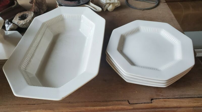 """4  6"""" Octagon Side PLATES-WHITE INDEPENDENCE IRONSTONE Japan plus vegetable bowl"""