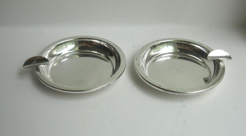 """Lot of 2 Vintage Sterling Silver 3"""" Ashtrays No Monograms"""