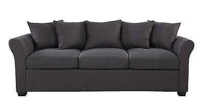 Dark Grey Traditional Ultra Comfortable Linen Fabric Living Room Sofa Couch