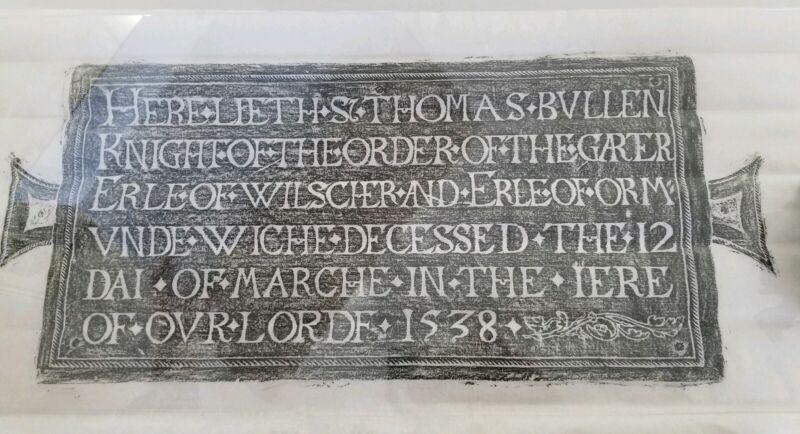 Vintage Brass Rubbing Thomas Bullen Knight Order Of The Garter 1538