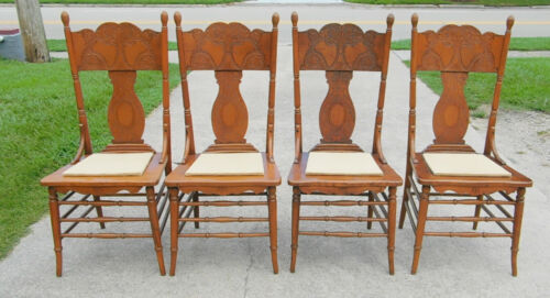 Set 4 Pressed Back Oak Breakfast Dining Chairs circa 1900