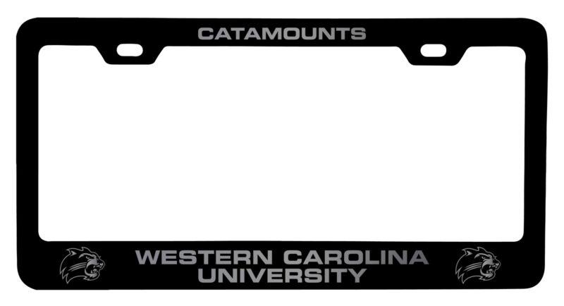 Western Carolina University Laser Engraved Metal License Plate Frame Black