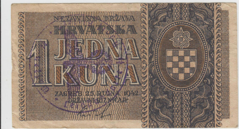 1 kune 1942 Croatia - Waffen SS division Adolf Hitler - Very rare banknote RRR