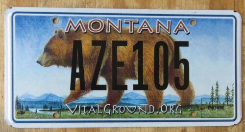 MONTANA BEAR / VITAL GROUND specialty license plate  2015   AZE 105