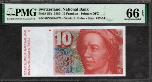 SWITZERLAND 1980 10 FRANKEN, P53b, PMG GEM UNC 66 EPQ 5994271