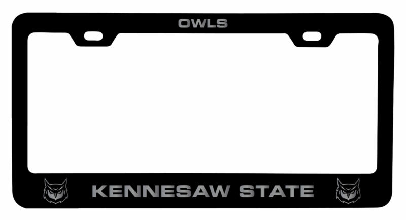 Kennesaw State University Laser Engraved Metal License Plate Frame Black
