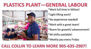 Long Term Position at Local Plastic Factory in Milton!
