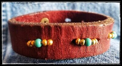 Vintage Rustic Turquoise Gold Leather cuff Bracelet