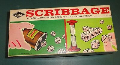 Vintage 1963 Scribbage Word Game From E S  Lowe  Complete  In Box