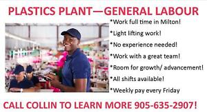 Plastic Factory Hiring in Milton! PAID WEEKLY!