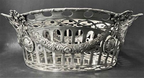 "Large >13"" Antique German Hanau 800 Silver Fruit Basket (Heresheimer)"