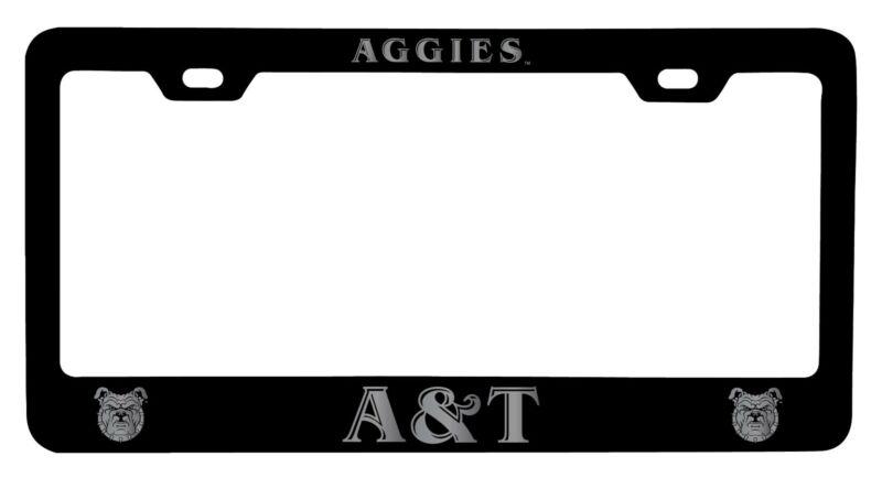 North Carolina A&T State Aggies Laser Engraved Metal License Plate Frame Black
