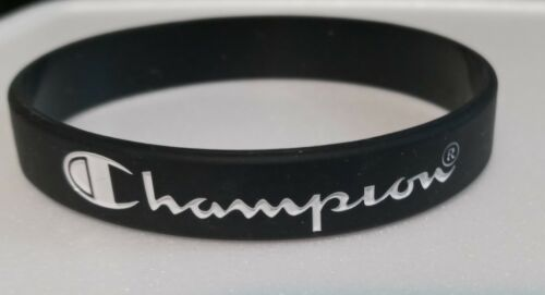 """BLACK with White Print CHAMPION Silicone Bracelets 5/16"""" Wide - US Seller!!!"""