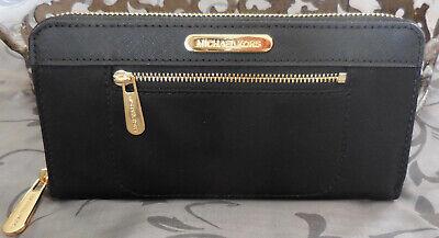 MICHAEL KORS~COLGATE Zip Around Continental Nylon Leather Wallet~BLACK~NWT $128