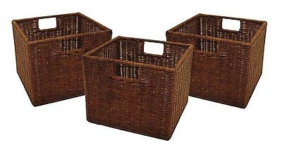 Set of 3 Storage Baskets Shelves Boxes Wicker Woven Rattan Small Square Brown ()