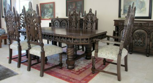 Antique Spanish Baroque  Dining Set  Hand Carved Red Cedar Wood