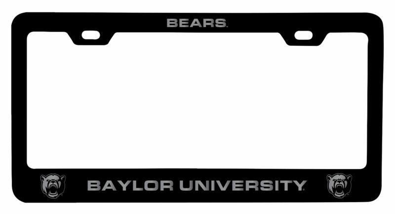 Baylor Bears Laser Engraved Metal License Plate Frame Black