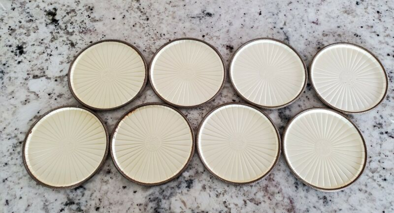 Vintage Mid Century Modern EVANS Hand Enameled Round Coasters; Qty 8