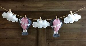 Felt hot air balloon and cloud bunting nursery baby shower gift Balcatta Stirling Area Preview
