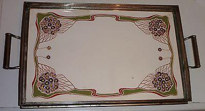 Jugendstil Keramik Tablett mit Metallmontur,Steinzeug Kuchenplatte um 1900