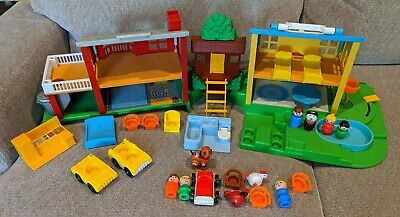 Vintage Fisher Price Little People Neighborhood House with Figures & Accessories