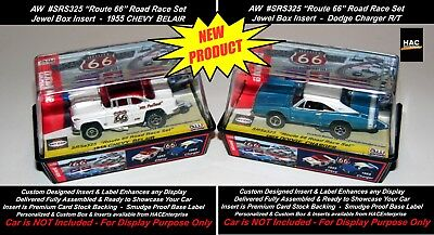 2 Custom Display Cases AW ROUTE 66 ROAD RACE Set Only Cars 69 Charger & 55 Chevy for sale  Shipping to Canada