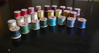 26 Vintage Wooden Cotton Reels Dewhurst Sylko Thread Bobbins