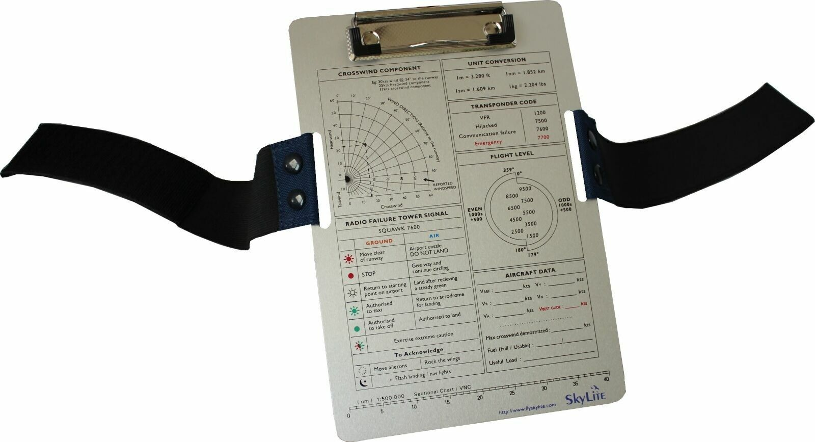 SkyLite Pilot VFR/IFR Aviation Aluminium Kneeboard For Flight and Training