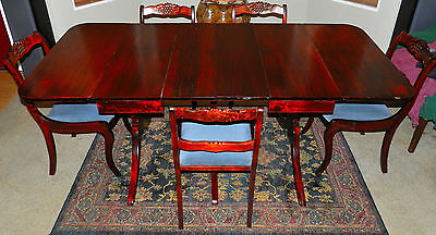 Gorgeous 3 Pedestal, Two Leaf, Drop Leaf, Duncan Phyfe Dining Table W/5 Chairs!! ()