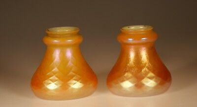 Set of 2 Steuben Glass Marigold Iridescent Opal Diamond Lamp Shades Signed c1920