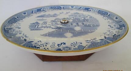 ANTIQUE 1881 COPELAND 'LAZY SUSAN', B & W WILLOW PATTERN