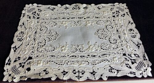 6 Antique Multi Lace Placemats Cluny Openwork Embroidery Eyelet  WW92