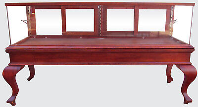 19TH C FANCY VICTORIAN BIRCH ANTIQUE DISPLAY CASE ON TALL CABRIOLET LEGS