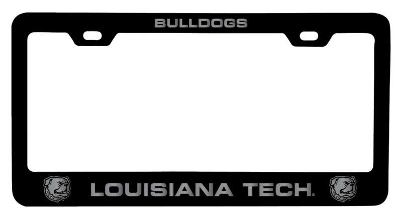 Louisiana Tech Bulldogs Laser Engraved Metal License Plate Frame Black