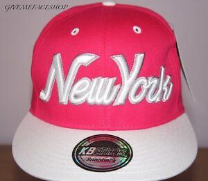 NEW-YORK-ROSA-Cappellino-con-visiera-baseball-regolabile-uomo-e-donna-hip-hop