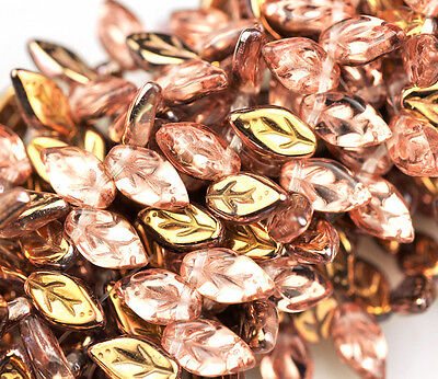 25 Apollo Gold Small Czech Glass Leaf Beads Side Drilled 10Mm