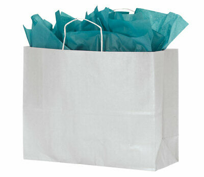 Large White Kraft Paper Shopping Bags With Handles - Case of 100 - Large Paper Bags