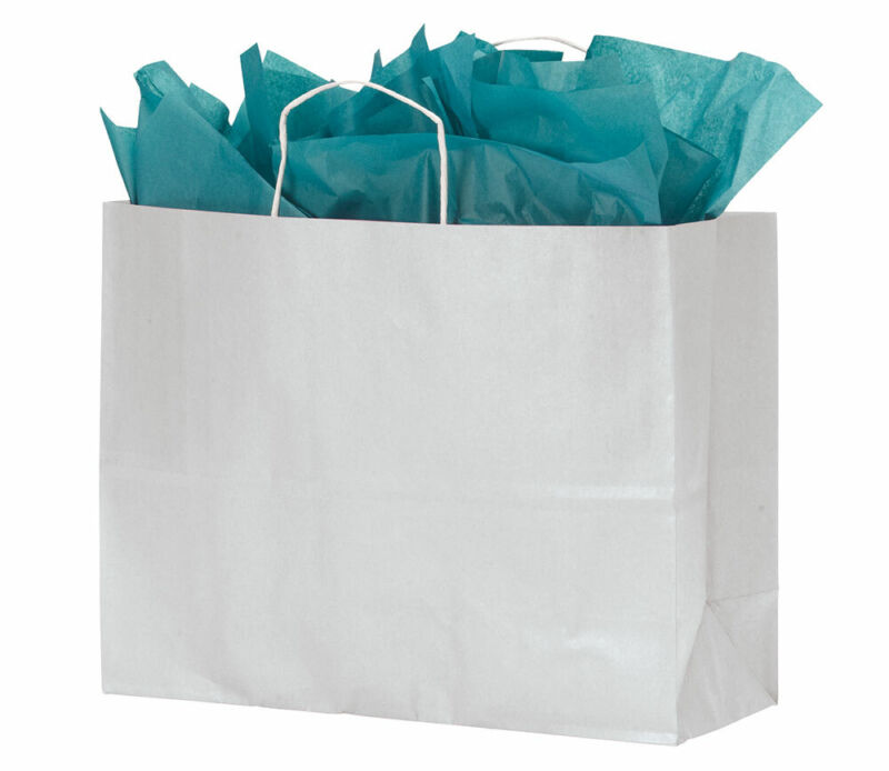 Large White Kraft Paper Shopping Bags With Handles - Case of 100