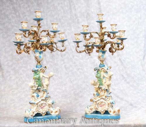 Pair French Sevres Porcelain Cherub Candelabras Candles