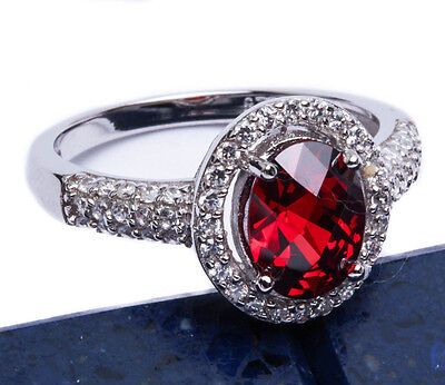 3 Carat Halo Red Garnet CZ .925 Sterling Silver Ring Sizes 5