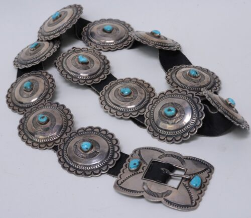 Navajo Sterling Silver and Tuquoise Concho Belt c. 1960-1980