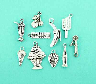 - Ice Cream Shoppe Charm Collection Antique Silver Tone 10 Charms - COL067