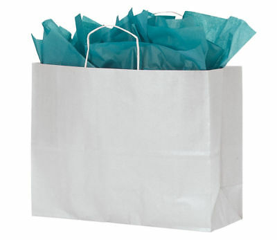 "Paper Bags 100 White Kraft Shopping Handles Vogue 16"" x 6"" x 12 ½"" High Large"