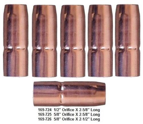 "169-725 Mig Welding Nozzles 5/8"" Recessed for Miller M25/M40 Mig Gun PK of 5"