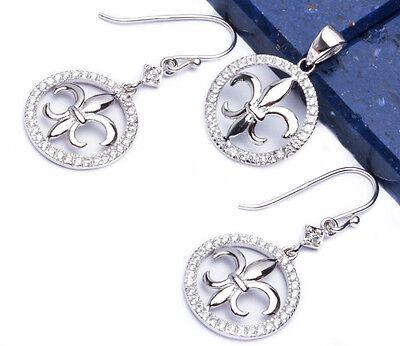 CZ Fleur De Lis .925 Sterling Silver Earring & Pendant Jewelry set