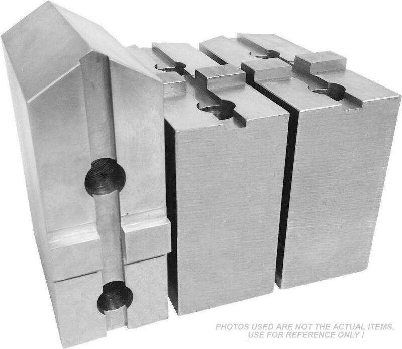 """TG-10200P STEEL POINTED SOFT JAWS FOR TONGUE & GROOVE 10"""" CHUCK 2"""" HT 3 PC SET"""